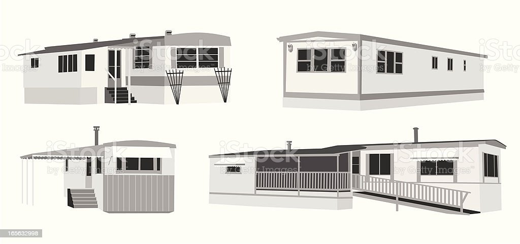 Mobile Homes Vector Silhouette vector art illustration