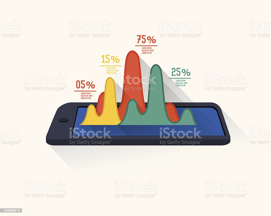 Mobile info graphic design on white background royalty-free stock vector art