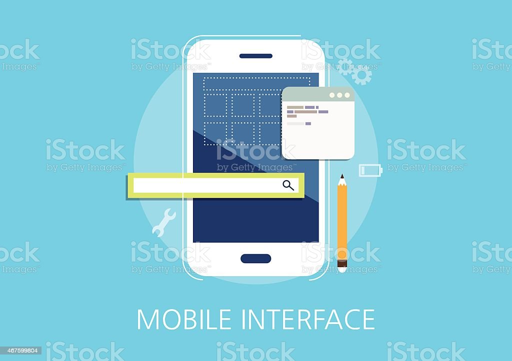 mobile interface developer concept flat icon vector art illustration