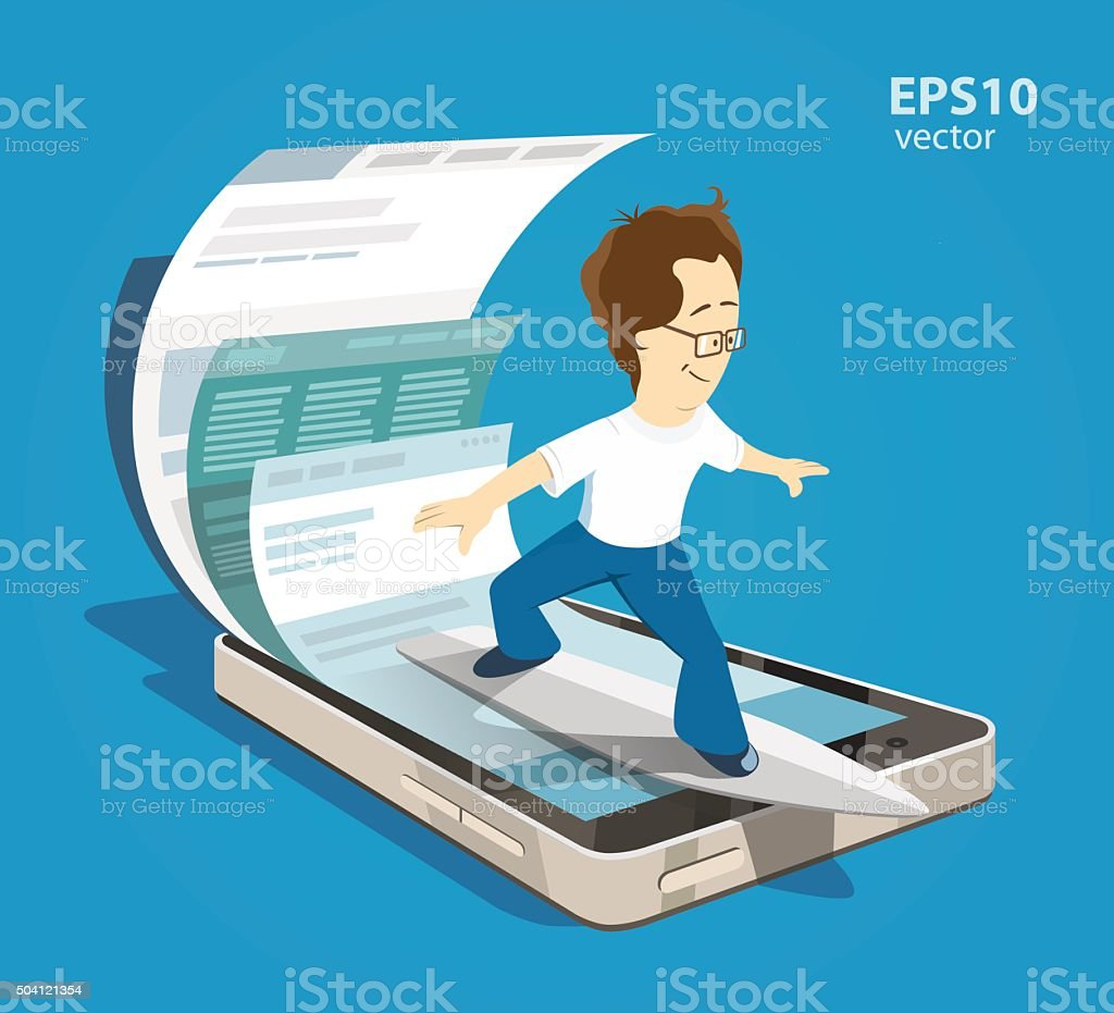 Mobile internet surfing vector art illustration