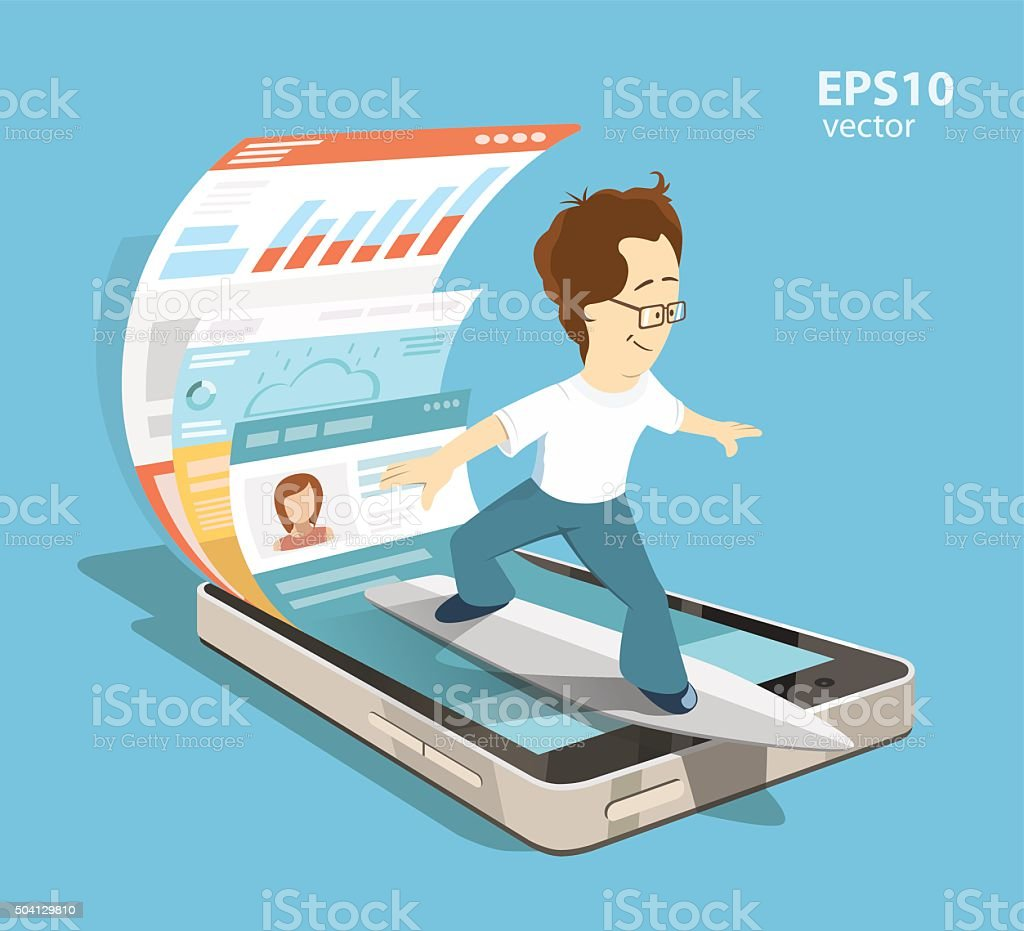Mobile internet surfing vector art illustration