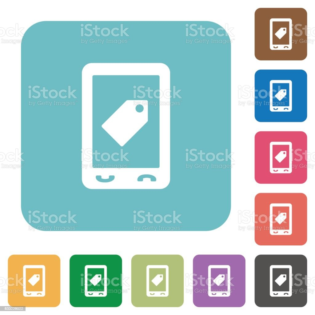 Mobile label rounded square flat icons vector art illustration