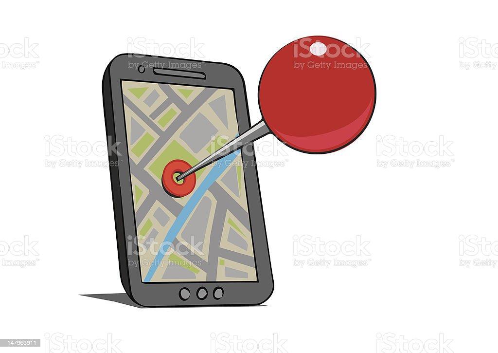 Mobile mapa de localização vetor e ilustração royalty-free royalty-free