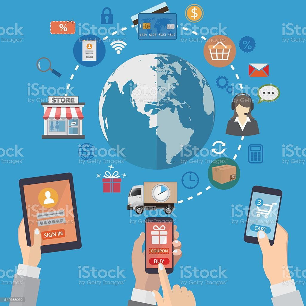 Mobile marketing concept vector art illustration