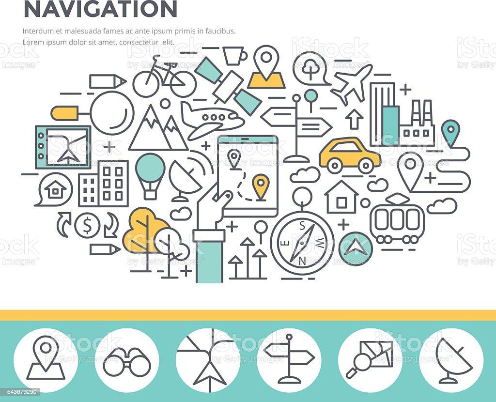 Mobile navigation concept illustration. vector art illustration