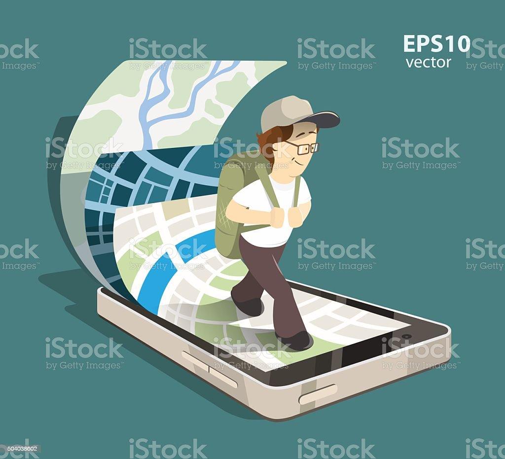 Mobile navigation system vector art illustration