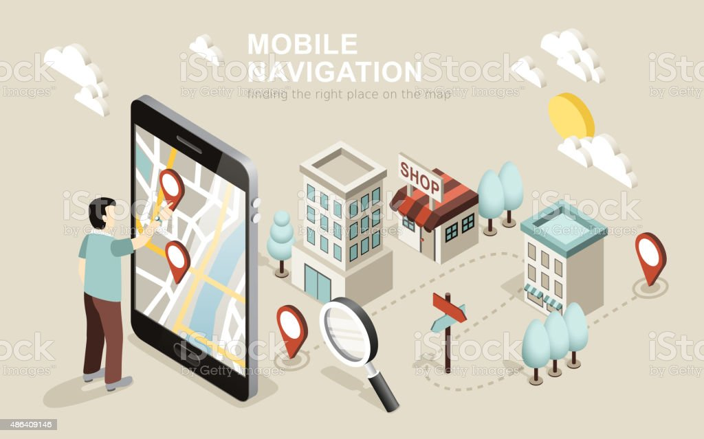 mobile navigation vector art illustration