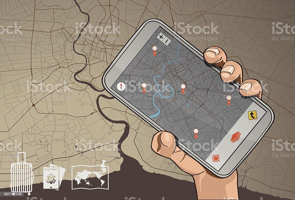 Mobile Navigation vector art illustration