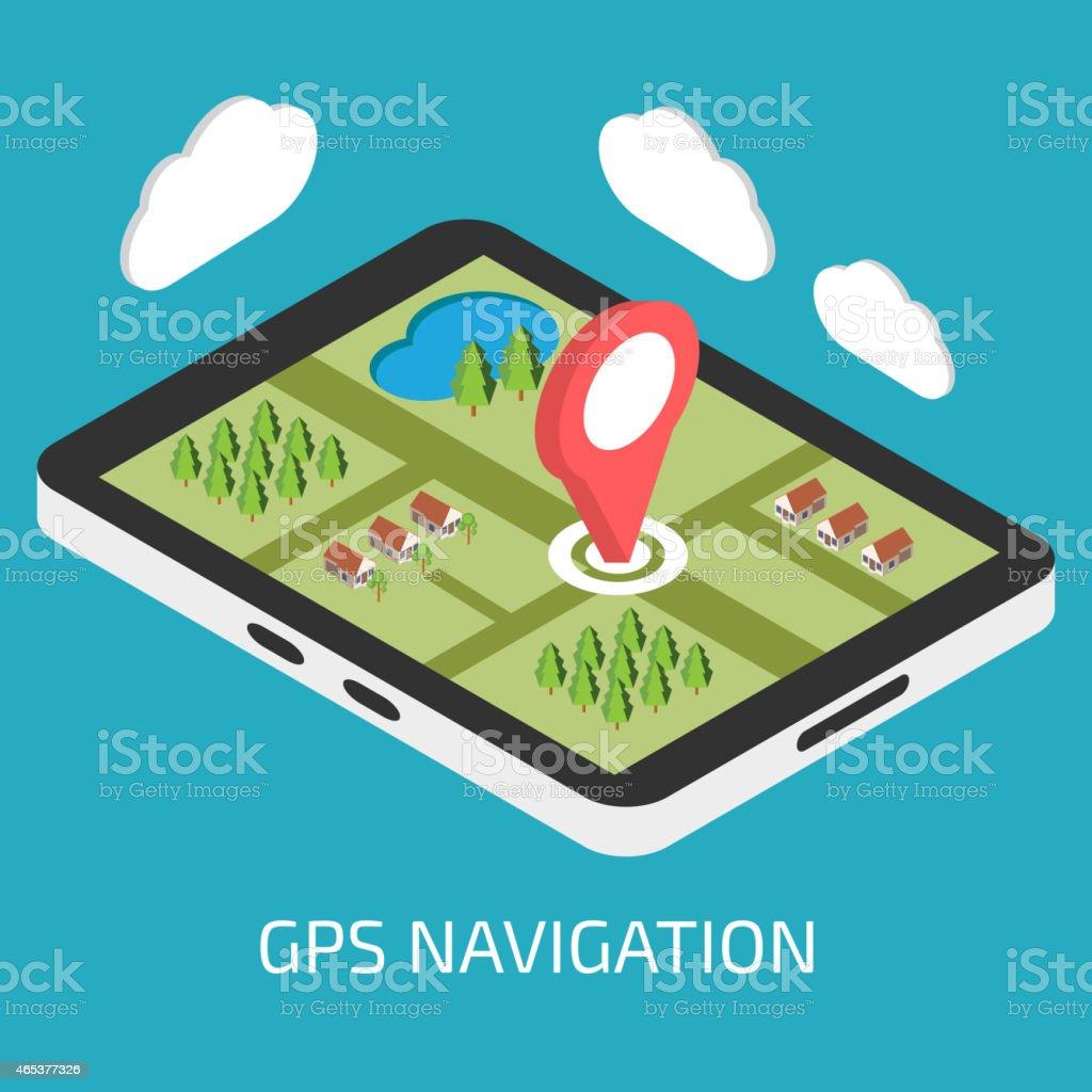 GPS mobile navigation with tablet or smartphone vector art illustration