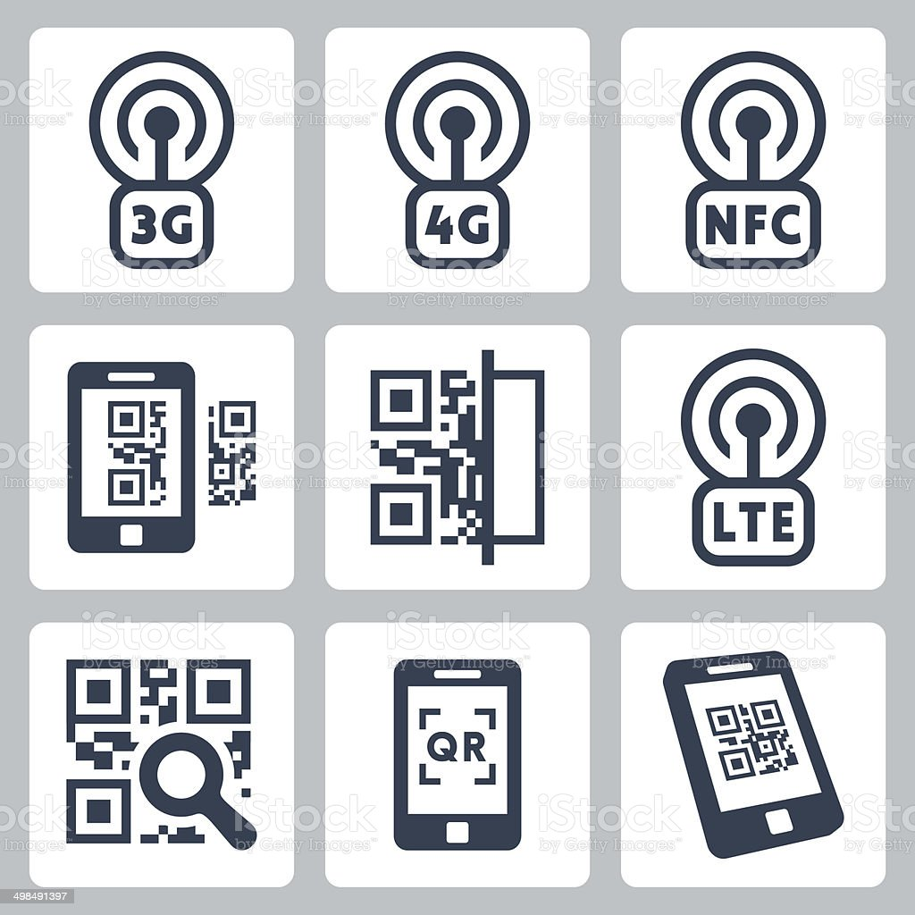Mobile network and QR-code related vector icons set vector art illustration