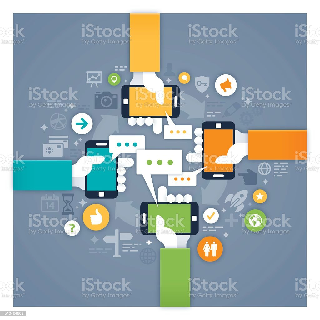 Mobile Networking vector art illustration