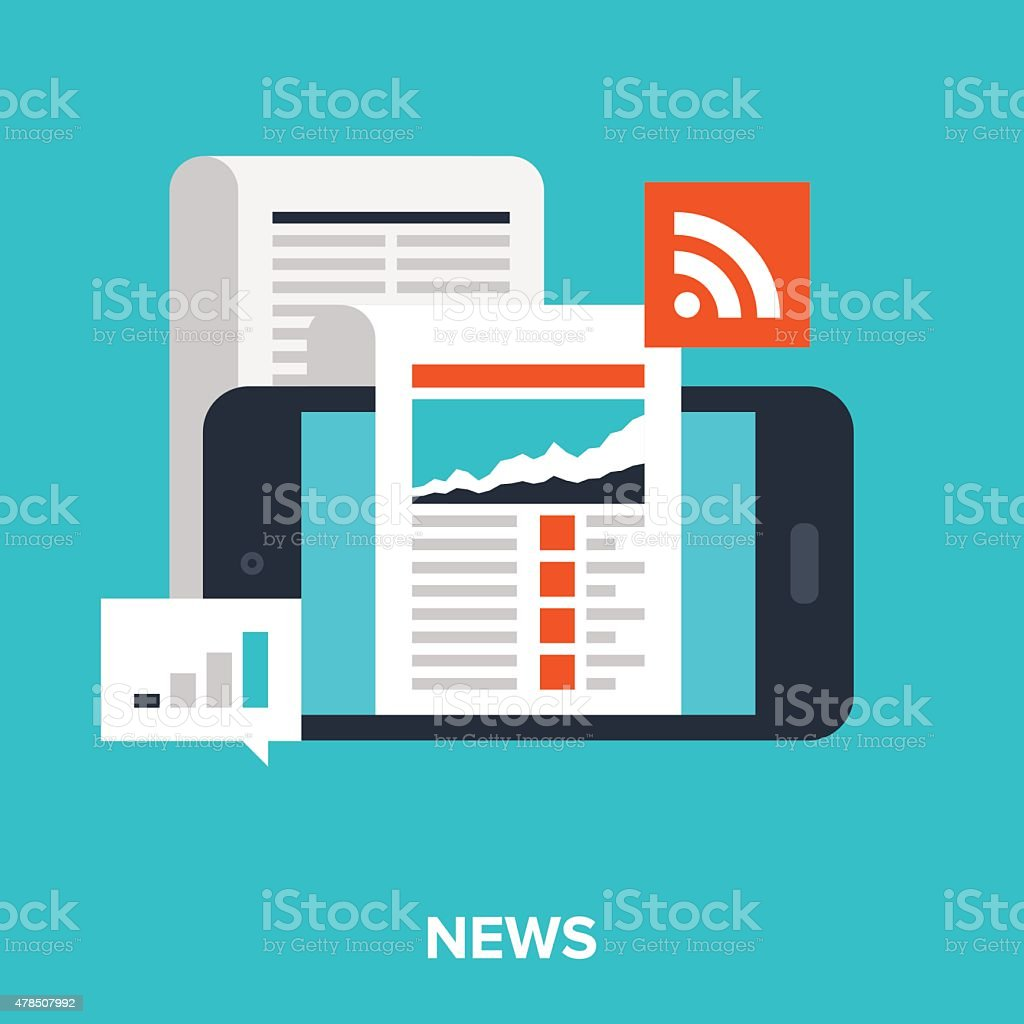 mobile news vector art illustration