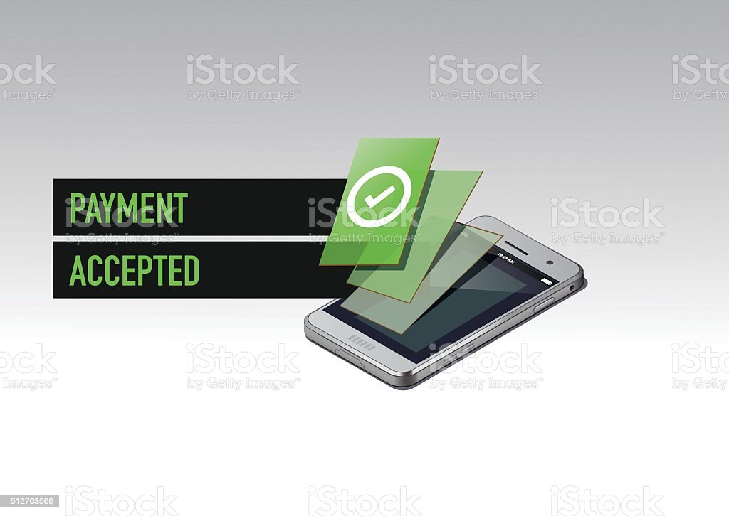 Mobile paying accepted vector art illustration