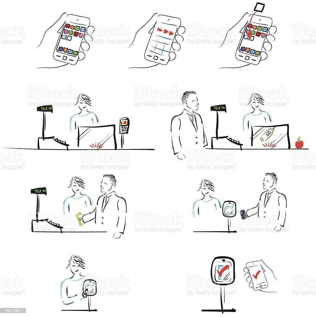 Mobile Payment Cartoon - Design Resource vector art illustration