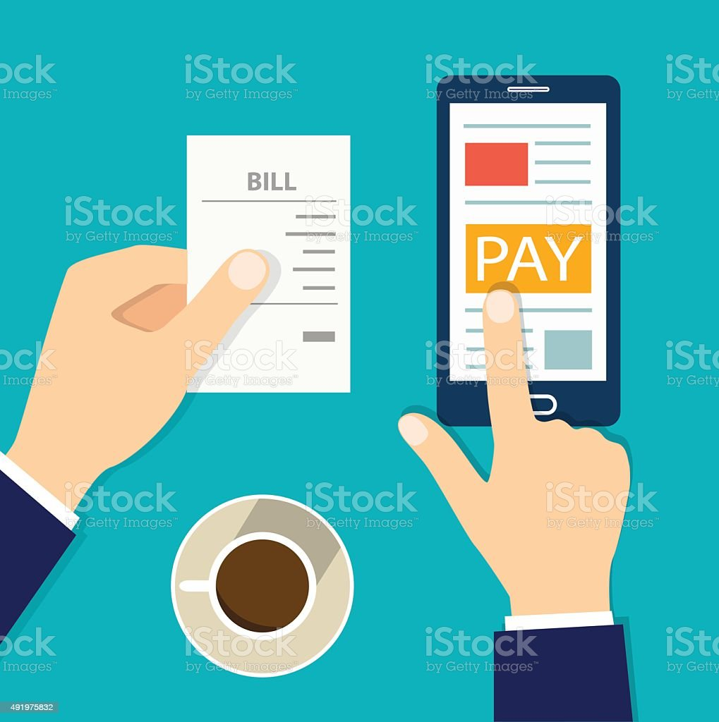 Mobile payment concept. flat vector illustration vector art illustration