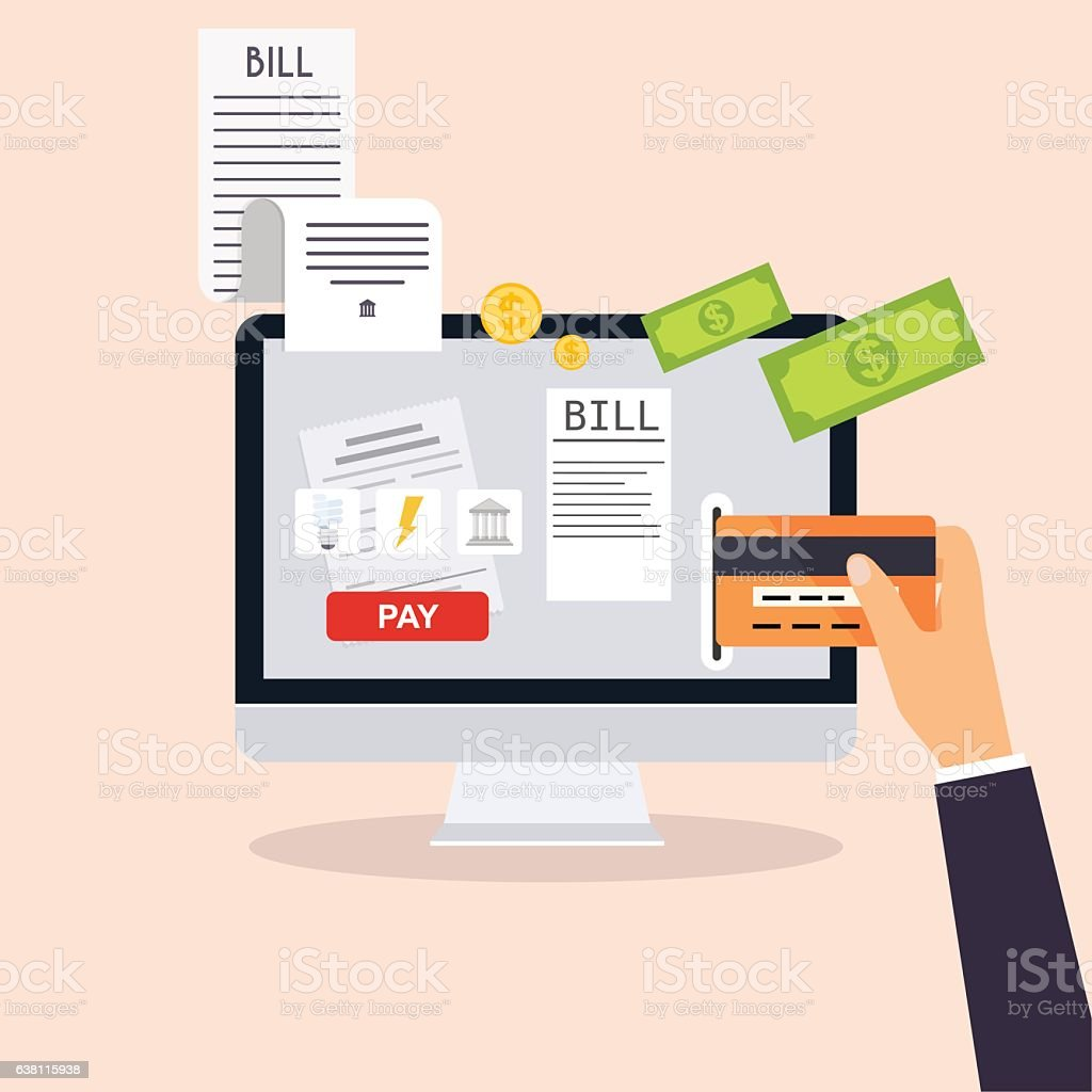 Mobile payment concept. Phone laying down on bill heap. vector art illustration