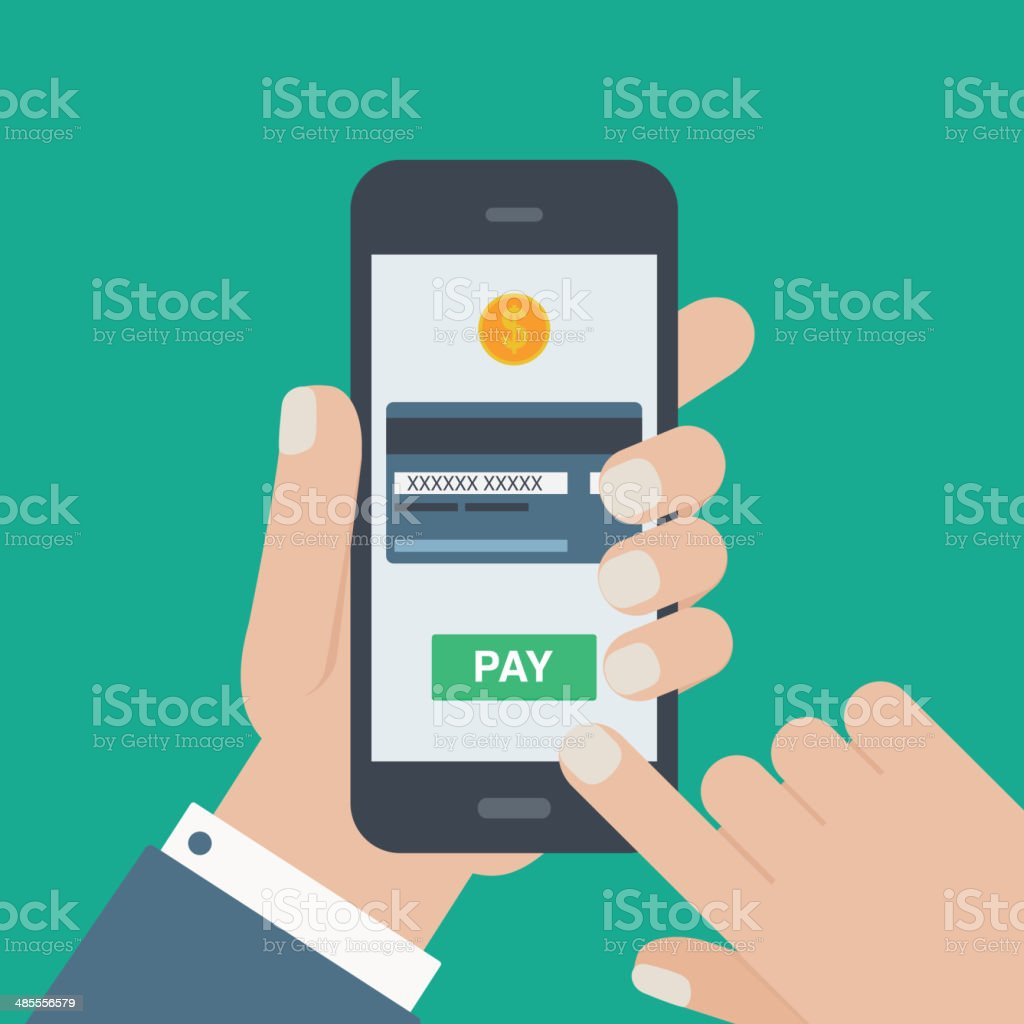 mobile payment credit card hand holding phone flat vector art illustration