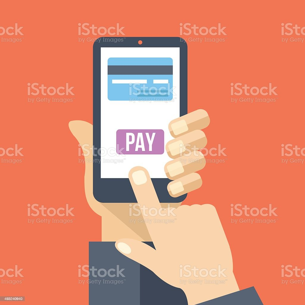 Mobile payment. Hand holds smartphone with online banking. Flat illustration vector art illustration