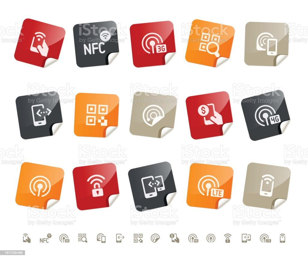 Mobile payment icons | sticky series royalty-free stock vector art