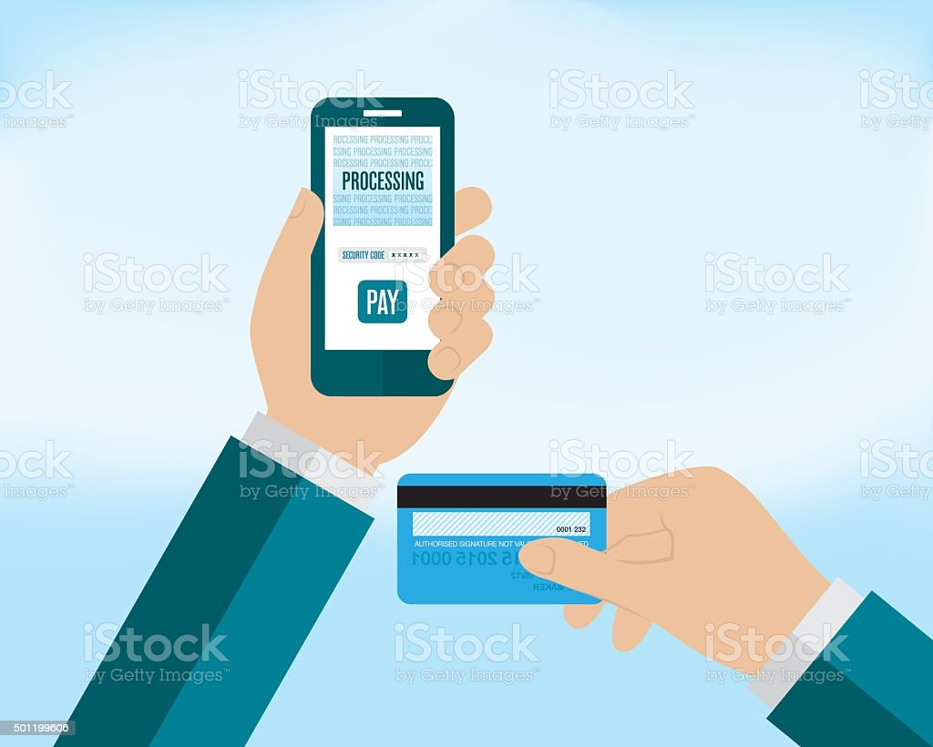Mobile Payment on Smartphone vector art illustration