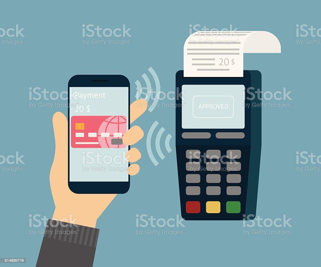 Mobile payment vector art illustration