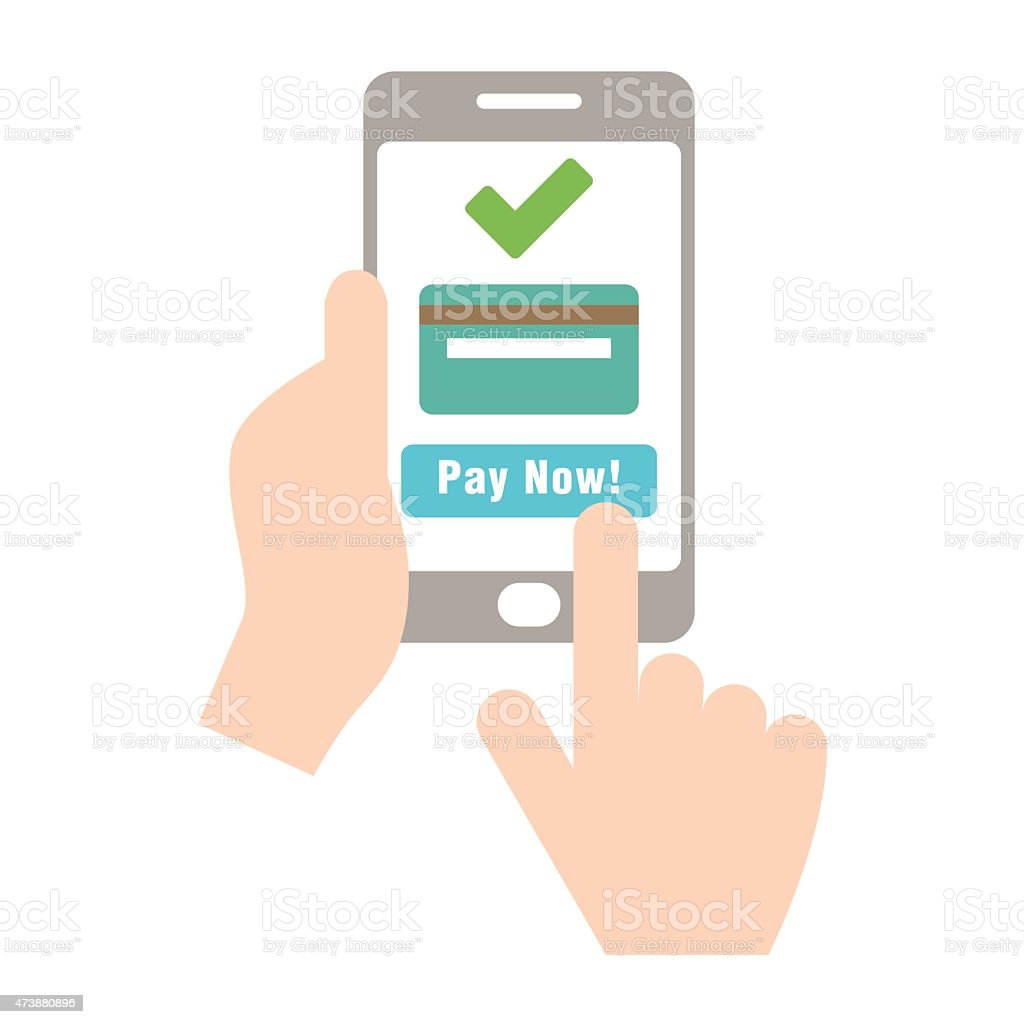 Mobile payment with credit card hand holding phone - VECTOR vector art illustration