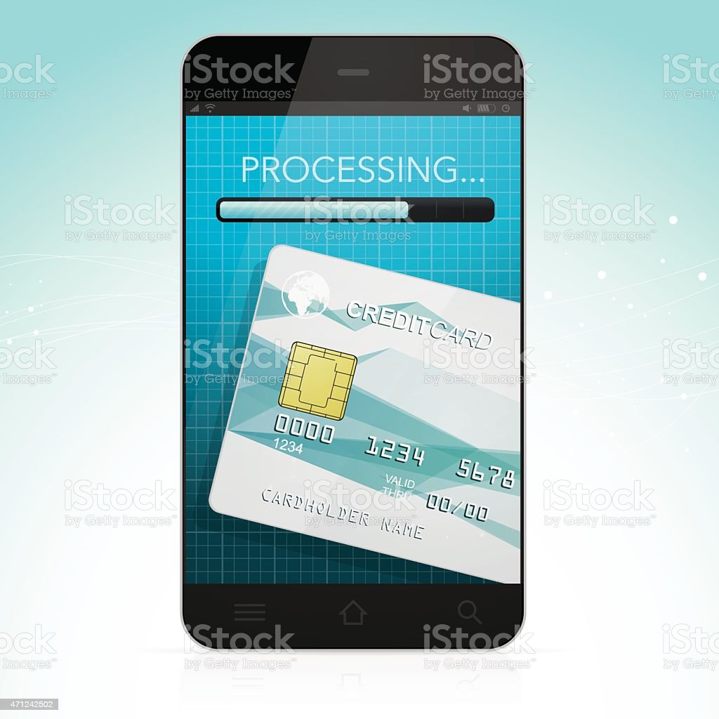Mobile payment with smarthone vector art illustration