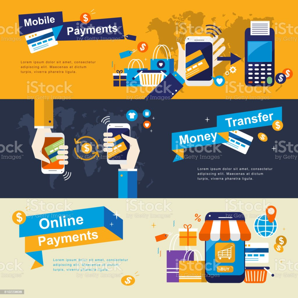 mobile payments banners design vector art illustration