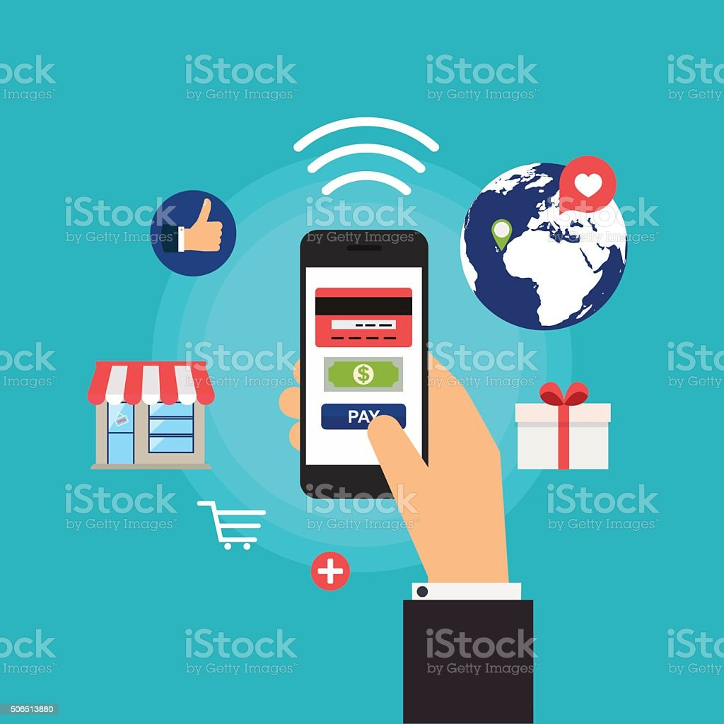 Mobile Payments. Concept online shopping and e-commerce. Icons f vector art illustration