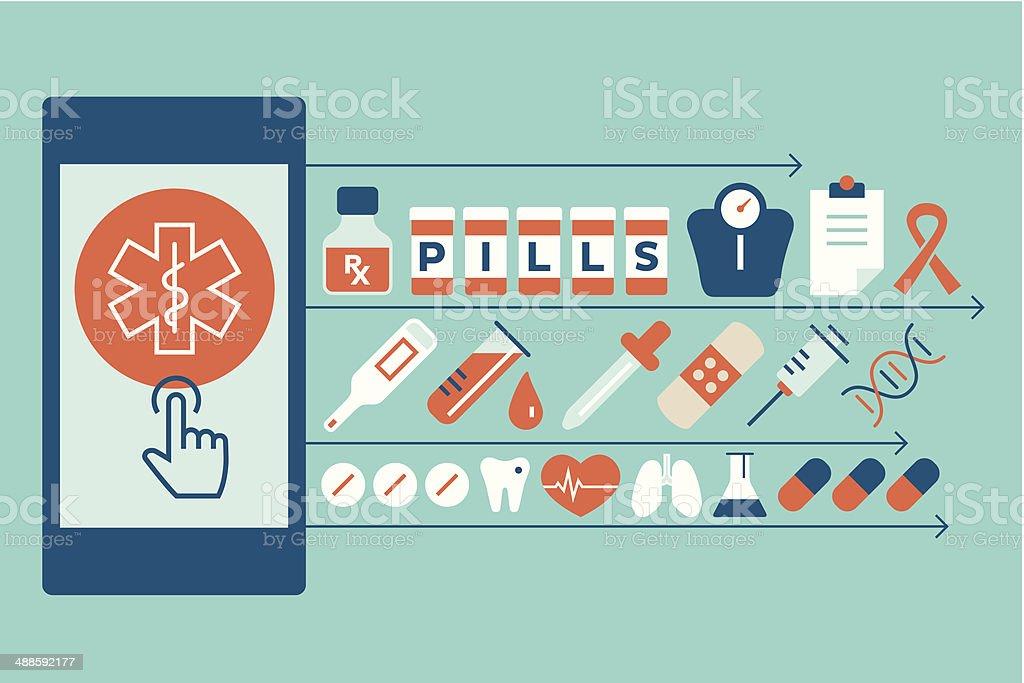 Mobile pharmacy vector art illustration