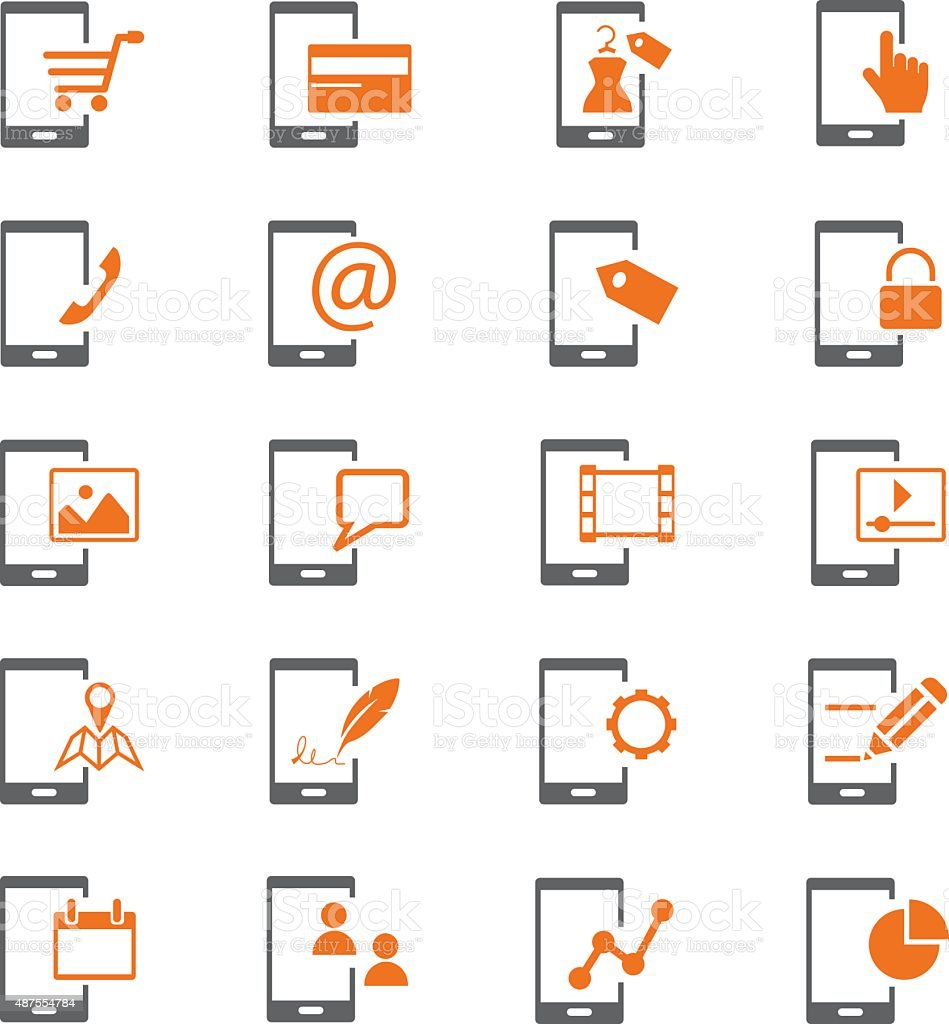 Mobile phone and business icon set vector art illustration