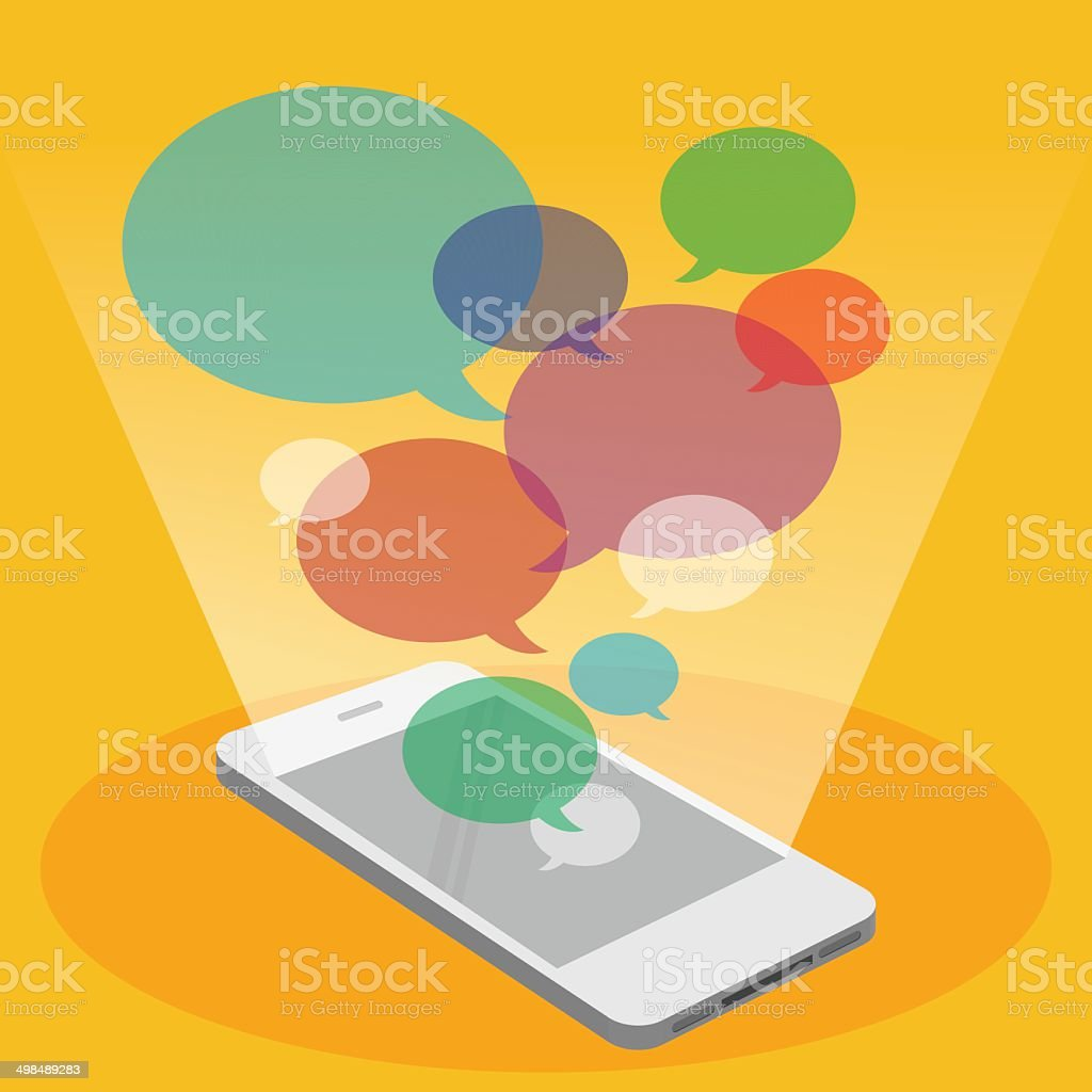 Mobile phone and colorful bubble speech vector art illustration