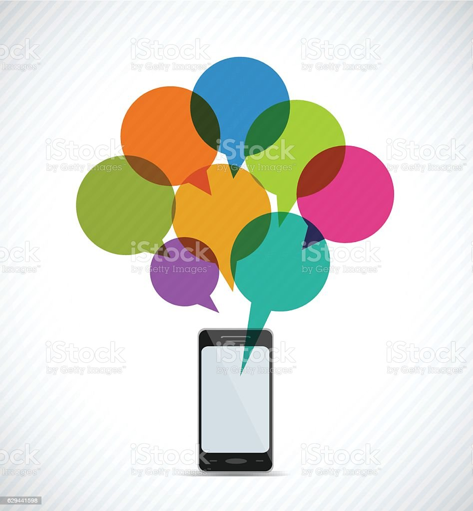 Mobile Phone and Communication vector art illustration