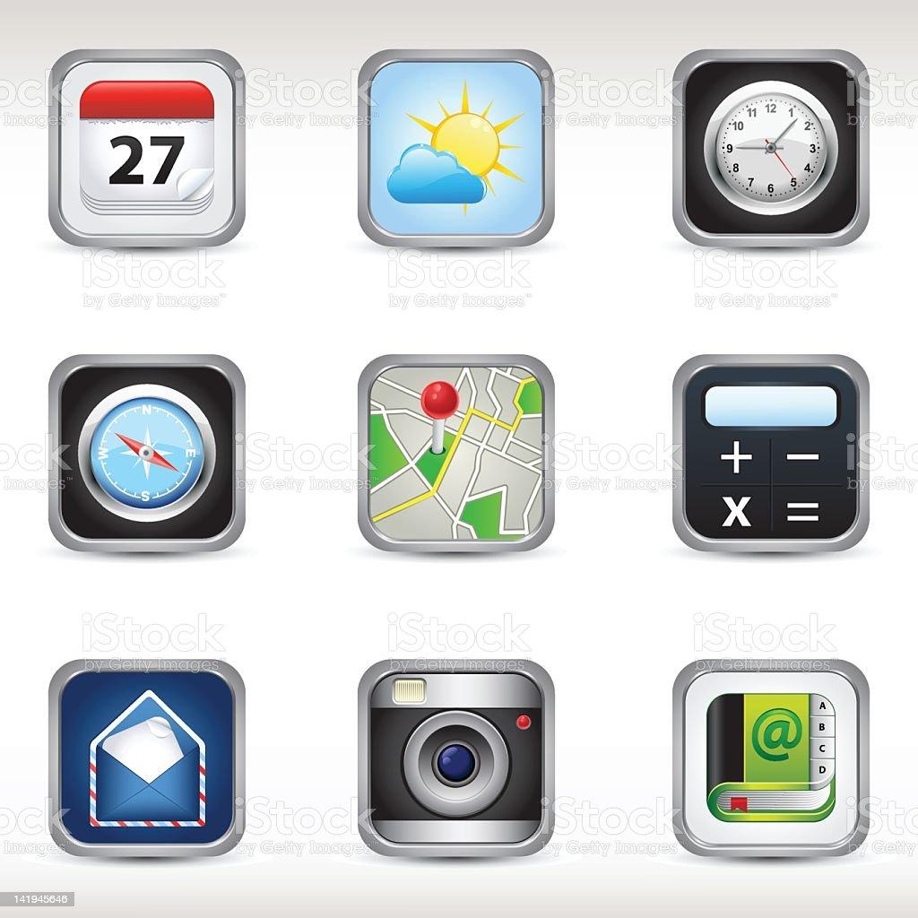 Téléphone Mobile app icônes stock vecteur libres de droits libre de droits