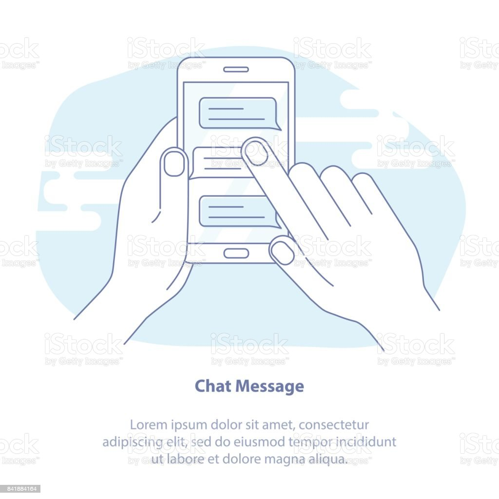 Mobile phone chat. Message notifications vector isolated on light background, hand with smartphone and chatting bubble speeches concept of online talking, speak, conversation vector art illustration