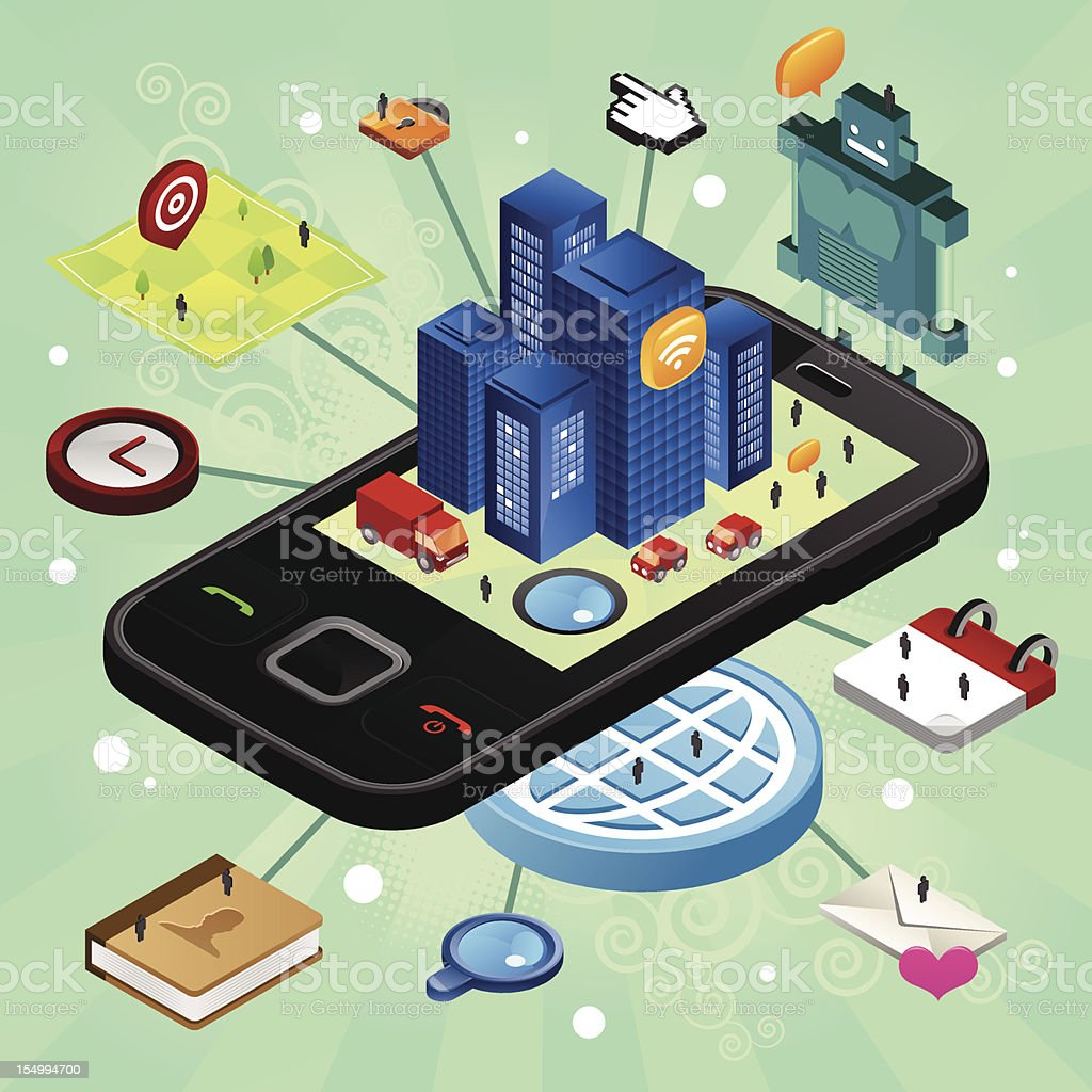 Mobile phone city with icons royalty-free stock vector art