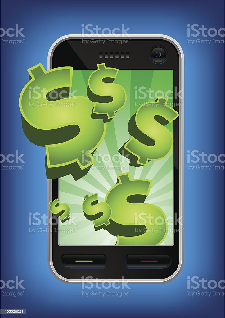 Mobile phone dollars bursting out of it's screen vector art illustration