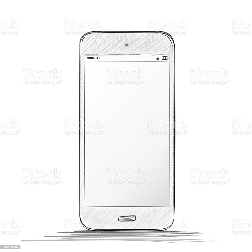 Mobile Phone Drawing vector art illustration