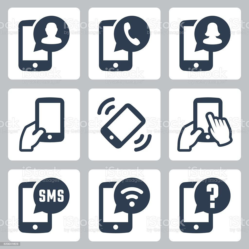 Mobile phone functions vector icons set vector art illustration