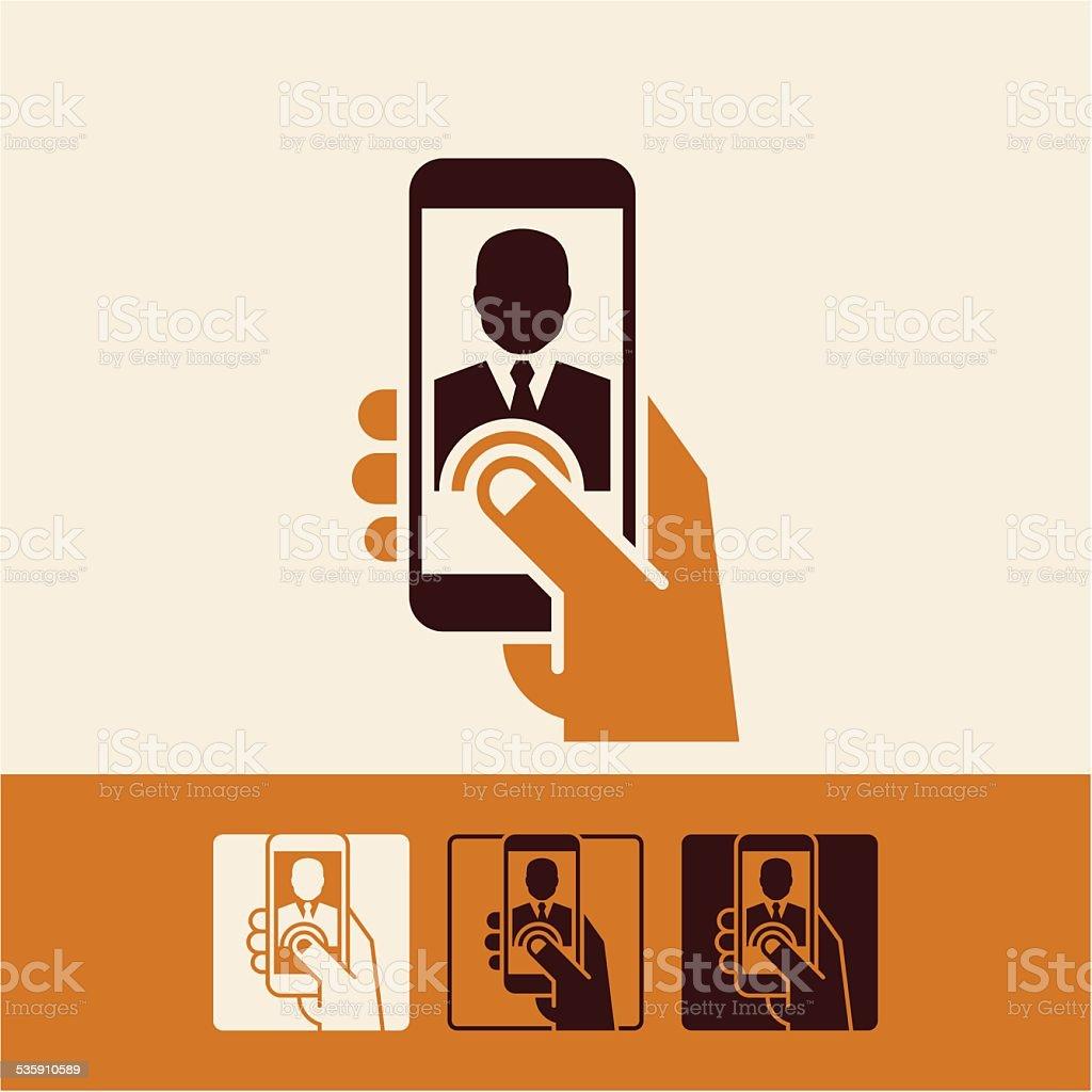mobile phone hand vector art illustration