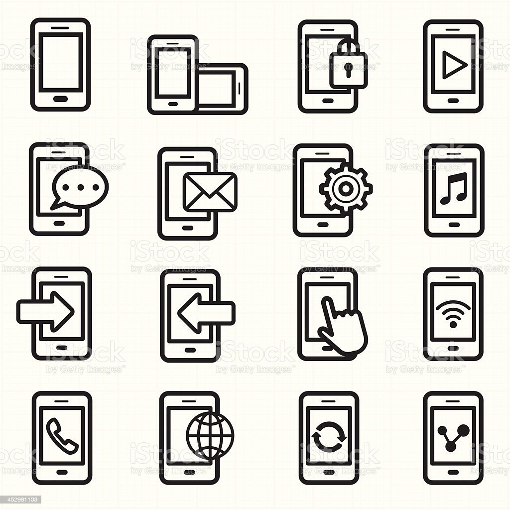 Mobile phone icons vector royalty-free stock vector art
