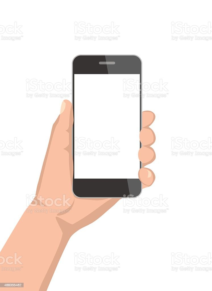 Mobile phone in hand vector art illustration