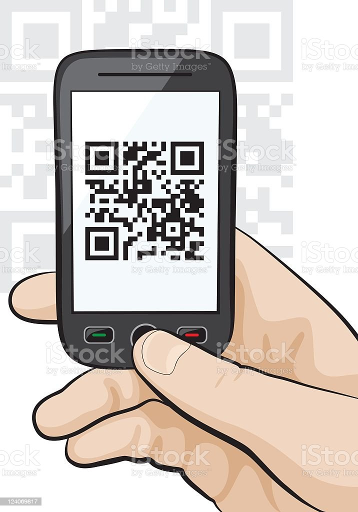 Mobile phone in male hand scanning qr code royalty-free stock vector art