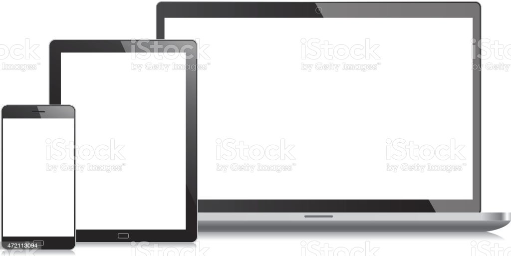 Mobile phone, laptop and tablet pc vector art illustration