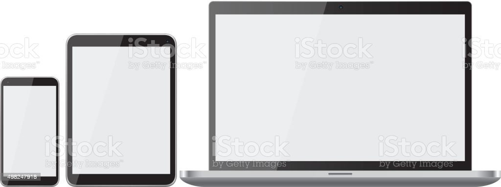 Mobile phone, laptop and tablet vector art illustration