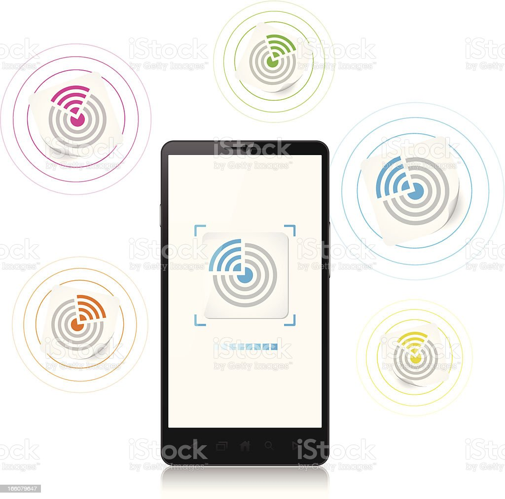 Mobile phone, NFC tag, new contactless technology royalty-free stock vector art