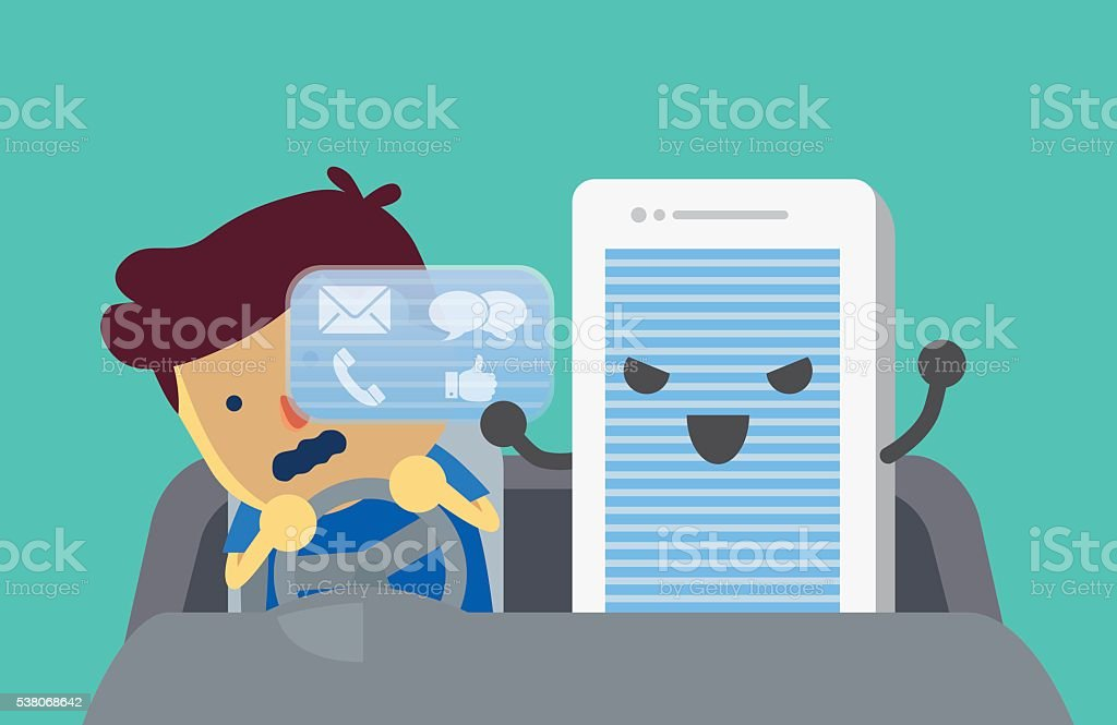 Mobile phone obstruct views of driver. vector art illustration