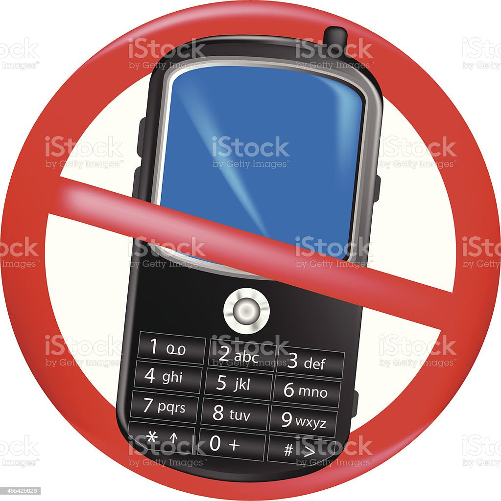 Mobile Phone Prohibited royalty-free stock vector art