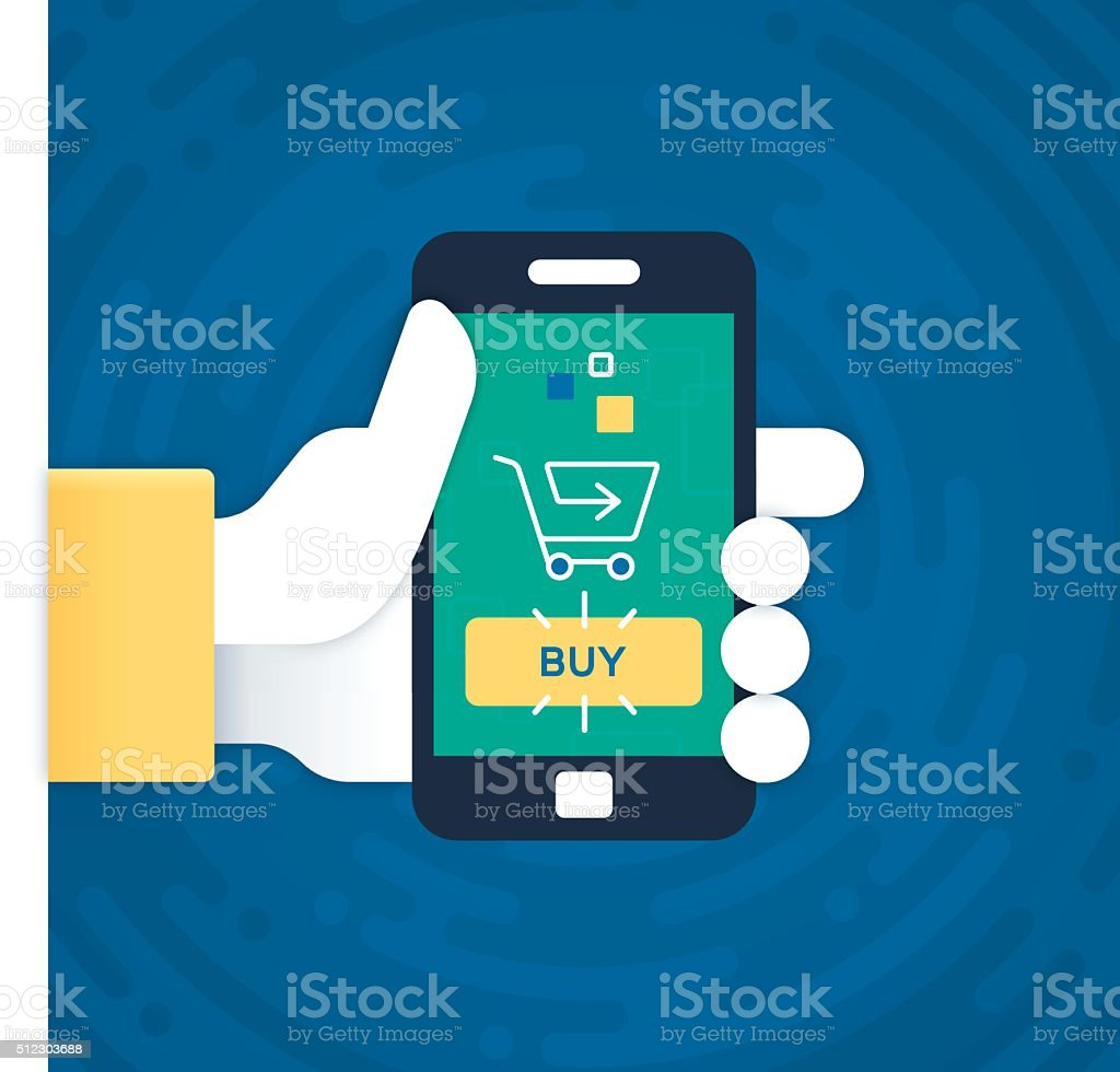 Mobile Phone Purchasing and Shopping vector art illustration