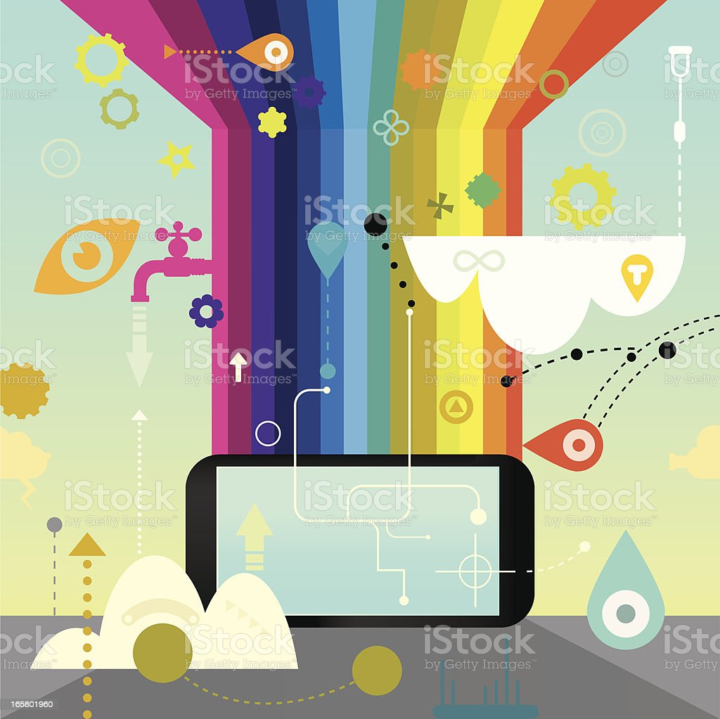 Mobile Phone Rainbow Technology royalty-free stock vector art